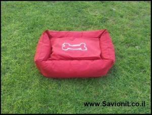 מיטה לכלב - מלבנית אדומה