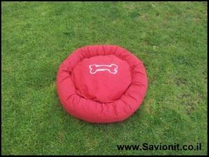 מיטה לכלב - עגולה אדומה
