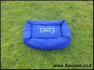 מיטה לכלב - מלבנית כחולה